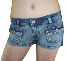 SeXy Jeans HOT PANTS Shorts Used-Look blau 34 36 38 40 42 Neu