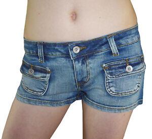 SeXy Jeans HOT PANTS Shorts Used-Look blau 34 36 38 40 42 Neu