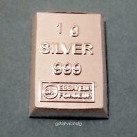 1 Gramm Silberbarren - (1g Silber ESG Valcambi 999 Feinsilber Silver Barren)