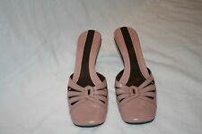 Nine West Womens Size 8M Pink Leather 2 Inch Square Toe Slip On Heels