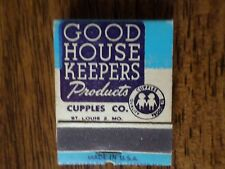 Good House Keepers Products Cupples Company Vintage Matchbook Full Unstruck Book