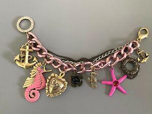 Betsey Johnson Sea Life Charm Bracelet. Anchor, Seahorse, Starfish, Flower