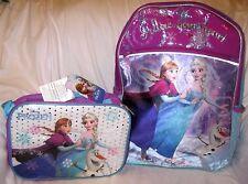 """Disney Frozen Running Anna+Elsa 16"""" Backpack & Anna Elsa Lunch Bag Lunchbox-New!"""