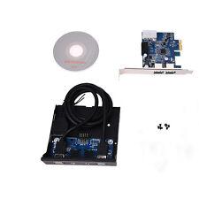 PCI Express PCI-E Carte 2 Port Hub Adaptateur+USB 3.0 Panneau 5Gbp Haute Vitesse
