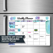 Weekly Planner Organiser. Magnetic Fridge Whiteboard. Large A3:42 x 30cm. Aussie