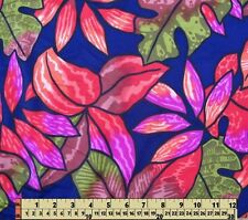 Nylon Lycra Spandex Fabric Material Fall Autumn navy orange sage leaves 1/2 yard