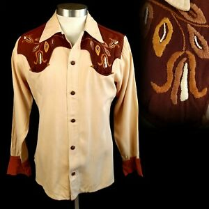 Vintage 1940s Hand Embroidered Western Cowboy Shirt S