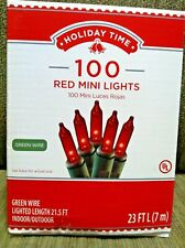 Holiday Time 100 Count Red Mini Light Set Green Wire Indoor/Outdoor NIB