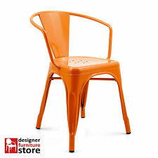 Replica Tolix Stackable Metal Armchair - Orange (Indoor/Outdoor)