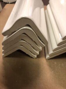 """10 American Olean Starting Line White Gloss Ceramic Corner Cap Tiles 2"""" X 6"""""""