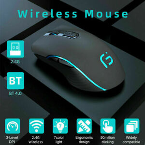 Wireless Bluetooth Mouse Rechargeable Dual Mode Silent Ergonomic for Laptop PC