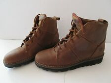 TIMBERLAND Women's 5M Brown Oiled Leather Lace Up Ankle Boots New