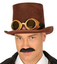 Cappello a cilindro marrone con occhiali steampunk gotico vittoriano 1d0c4d6d438d