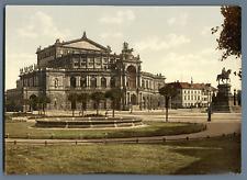 Dresden, Semperoper. PZ vintage photochromie, Deutschland photochromie, vintag