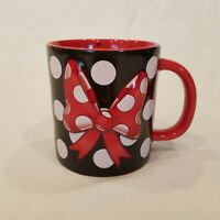 Disney Parks Mug Minnie Mouse Signed 3D Polka Dot Bow Red Black White 16 Oz Cup