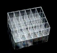 24 Trapezoid Clear Makeup Lipstick Display Stand Case Cosmetic Organizer Holder