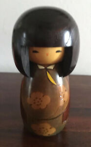Gorgeous Japanese Wooden Kokeshi Doll With Original Sticker