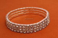 24pcs 4Row Crystal Rhinestone Stretch Bracelet Bangle Wedding Bridal Wristband