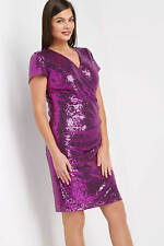 Roman Originals Ladies Sequin Side Drape Dress Magenta