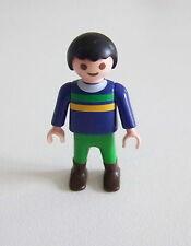 PLAYMOBIL (3115) ENFANT MODERNE - Garçon Pull Bleu Pantalon Vert Bottes
