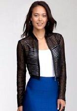 NWT Bebe black 100% Genuine Leather mesh zipper striped mini top Jacket S Small