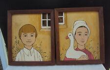 "Pair Oil Paintings Amish Boy Girl Constantine  Kermes 8 "" x 10 "" Lancaster PA"