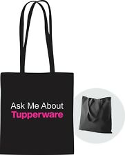 Ask Me About Tupperware Tote Bag Black with handles *Free Shipping* Great Gift