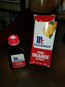 Vintage 1976 McCormick Pure Orange Extract Bottle & Box Baltimore