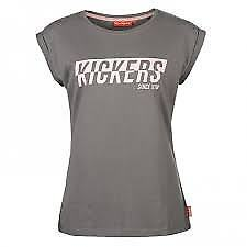 Kickers Ladie's Chest Print Short Sleeve Tee Top Classic Shirt Grey Pink UK 14
