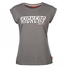 Kickers Ladie's Logo Print Short Sleeve Tee Top Classic Shirt Grey Pink UK 14 *9