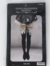 """Halloween Knee High Socks 28.35"""" x 3.94"""" Black w White Bows One size fits most"""