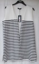 LADIES MARKS AND SPENCER VANILLA AND NAVYOPEN FRONT WAISTCOAT SIZE XL