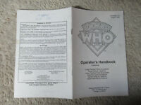 williams DOCTOR WHO operator's handbook PINBALL   arcade game owners manual