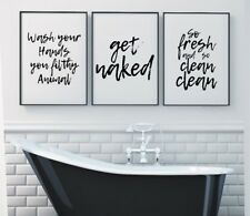 Set of 3 Wash Your Hands Get Naked Bathroom Home Decor Poster Prints Wall Art
