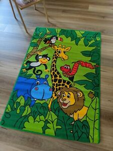 Kids fun forest animals rug 100 x 150cm Bedroom size Anti-slip