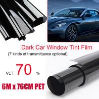6M/76CM Film Teinté Solaire Noir Pour Vitre Fenêtre Velux Voiture Batiment 70%