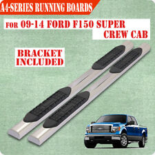"""Fit 09-14 Ford F150 Super Crew Cab 4"""" Running Boards Side Step Nerf Bar S/S A"""