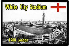 Blanco Ciudad Estadio,1908 Londres,GB - RECUERDO ORIGINAL Imán de NEVERA -