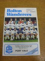 20/09/1986 Bolton Wanderers v Port Vale  . Footy Progs (aka bobfrankandelvis) ar