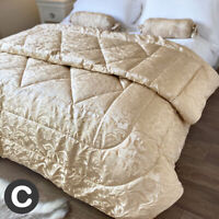 Luxury Gold Shimmer Double Size Quilted Bed Throw + Cushion Set French Floral