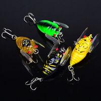 Lot 4pcs Plastic Popper Fishing Lures Bass CrankBaits Cicada Tackle 4cm/6.4g