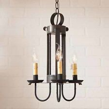 Irvins Country Tinware Large Amherst Primitive Hanging Light - Kettle Black