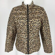 Lands End XS Brown Leopard Print Coat Down Jacket Zip Snap Front Quilted NEW