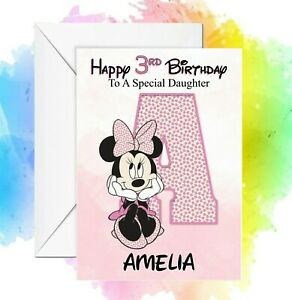 Personalised Birthday card Alphabet Letter Minnie Mouse any name/relation/age
