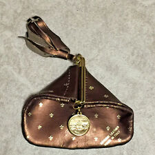 Vtg Slide Snap Bronze Leather Made in Italy Gold Fleur De Lis Coin Purse Pouch