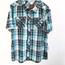 Rock Revival Plaid Mens The Buckle Blue Black Button Dress Shirt XXL 2XL