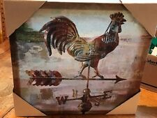 Long Barn Weather vane Rooster Stretched Canvas Painting Print Acrylic NWT
