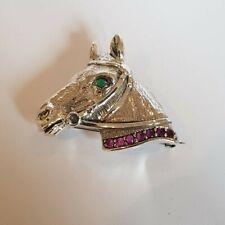 Antique Style Equestrian Horse Head Brooch Pendant Ruby / Emerald Stones Silver