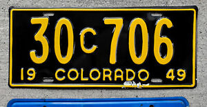 1949 Yellow on Jet Black Colorado COMMERCIAL License Plate 30 = Alamosa County