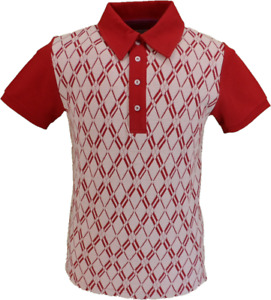 Soul Mens Red Diamond Retro Knitted Polo Shirts